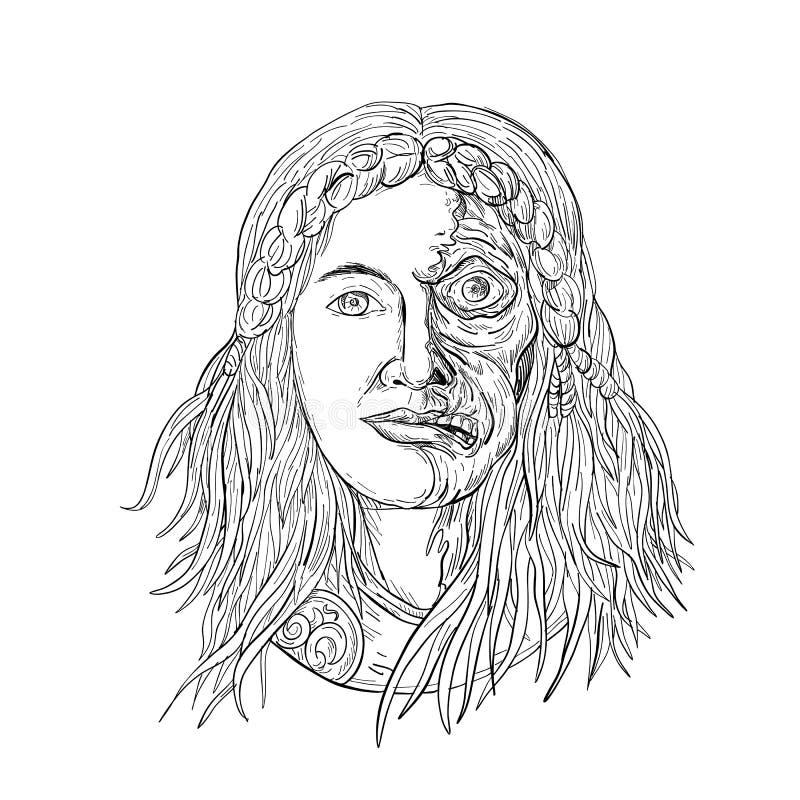 Fronte Front Drawing Black dei Hel della dea dei norvegesi e bianco royalty illustrazione gratis