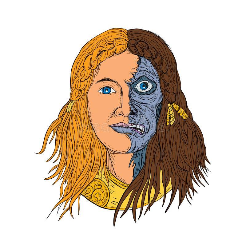 Fronte Front Drawing Color della dea dei norvegesi dei Hel royalty illustrazione gratis