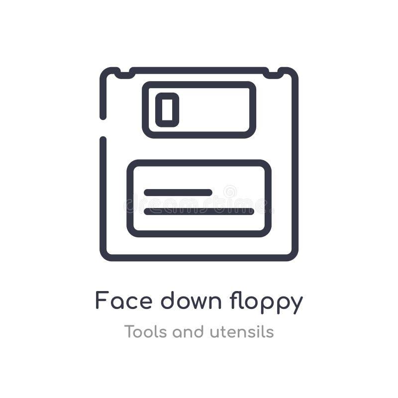 fronte giù l'icona a disco magnetico del profilo linea isolata illustrazione di vettore dalla raccolta degli utensili e degli str royalty illustrazione gratis