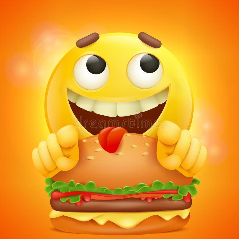 Fronte giallo sorridente di emoji del fumetto dell'emoticon con l'hamburger illustrazione vettoriale