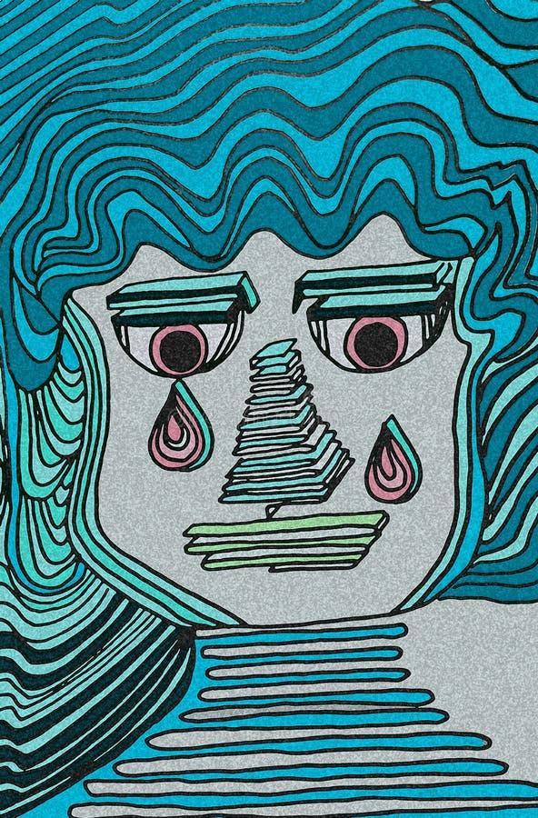 Fronte gridante espressivo Colori blu ed occhi rosa-chiaro Dettagli geometrici illustrazione di stock
