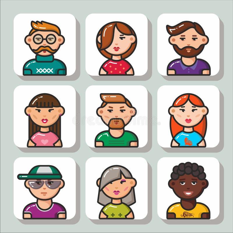 Fronte icons_1 della gente illustrazione di stock