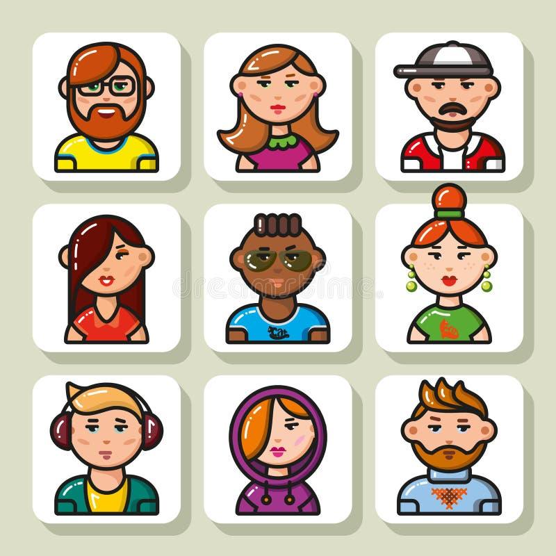 Fronte icons_21 della gente illustrazione di stock