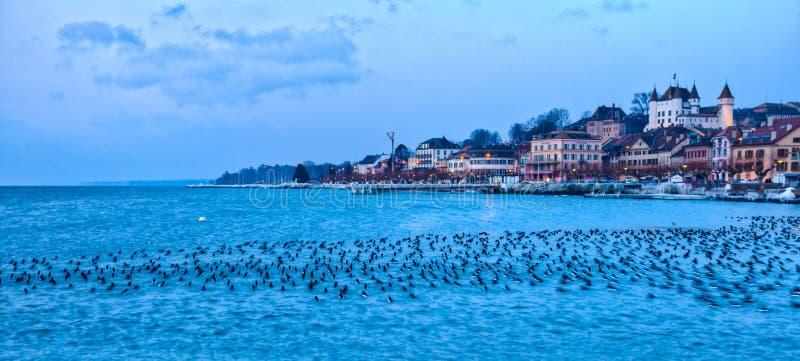 Fronte lago di Nyon, Svizzera immagine stock libera da diritti