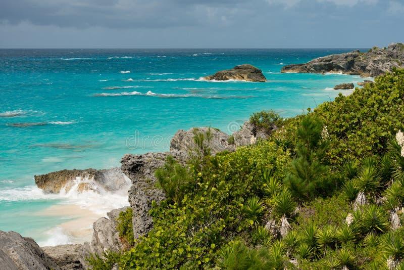 Fronte mare costiero in Bermude fotografie stock