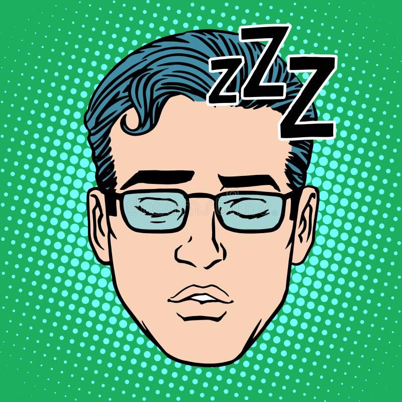 Fronte maschio di retro sonno di Emoji illustrazione vettoriale