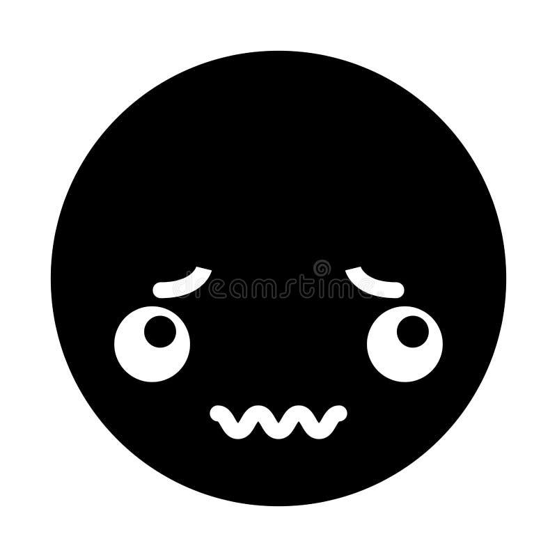 Fronte nero sveglio dell'emoticon di kawaii illustrazione di stock