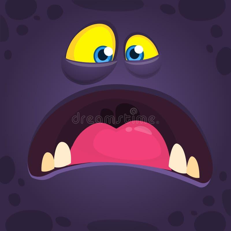 Fronte pazzo fresco del mostro del fumetto con la grande bocca Mostro del nero di Halloween di vettore che grida royalty illustrazione gratis