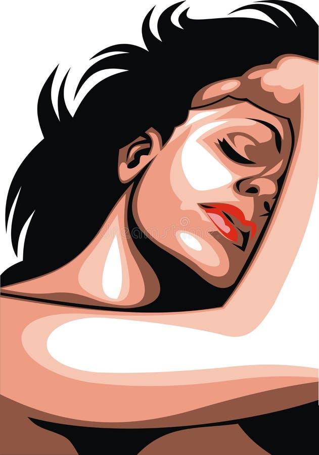 Fronte piacevole della donna illustrazione vettoriale