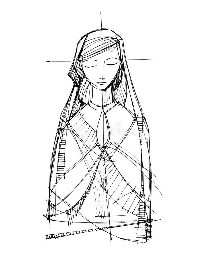 Fronte pregante pregante dell'illustrazione di Jesus Virgin Mary vergine Maria illustrazione vettoriale