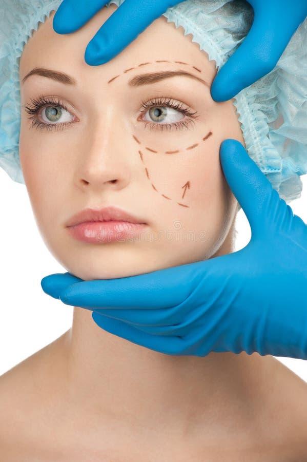 Fronte prima del funzionamento della chirurgia plastica fotografia stock