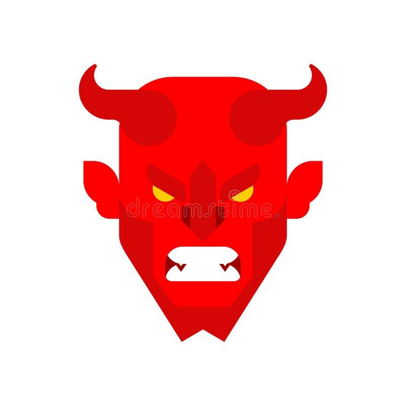Fronte rosso del demone Museruola cornuta di Satana Il diavolo con i corni si dirige Asmo illustrazione vettoriale