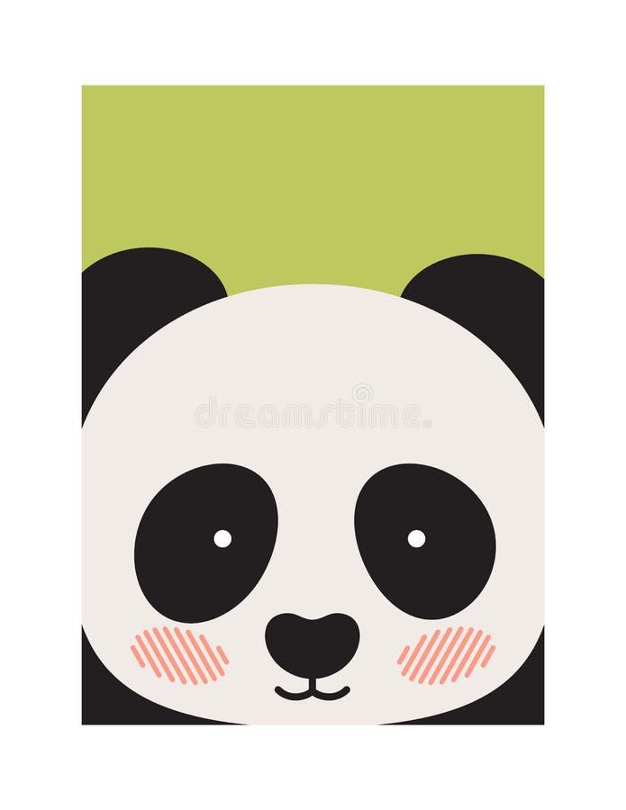 Fronte rotondo del panda s isolato sul contesto verde royalty illustrazione gratis