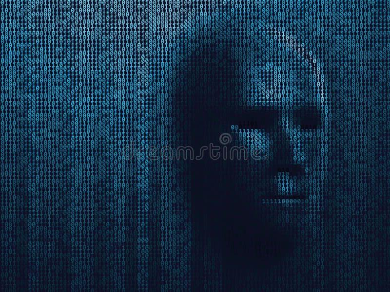 Fronte scuro del fondo del pirata informatico del pericolo binario del robot Testa di codice binario del cyborg Informazioni virt royalty illustrazione gratis