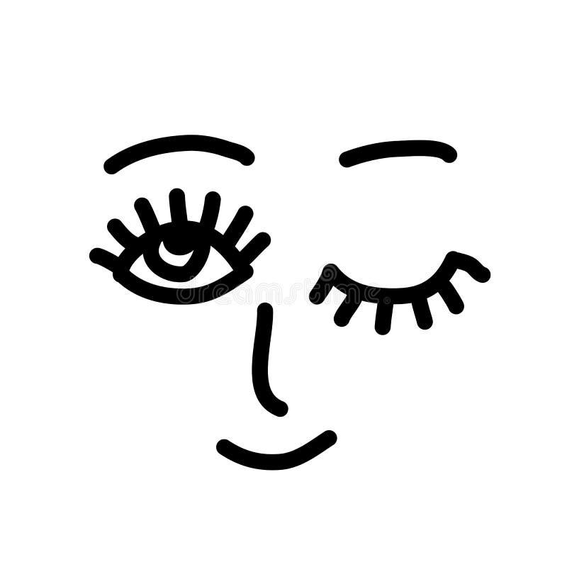 Fronte semplice di sorriso Aperto e sbattendo le palpebre gli occhi Illustrazione di vettore royalty illustrazione gratis