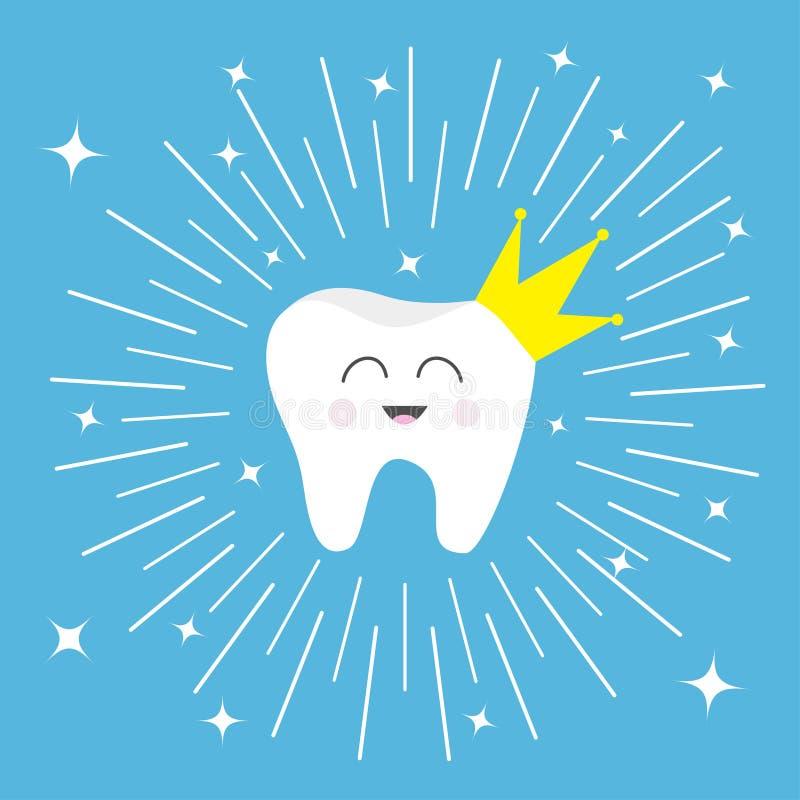 Fronte sorridente del dente dell'icona sana della corona Personaggio dei cartoni animati di principessa Cute di principe della re illustrazione di stock
