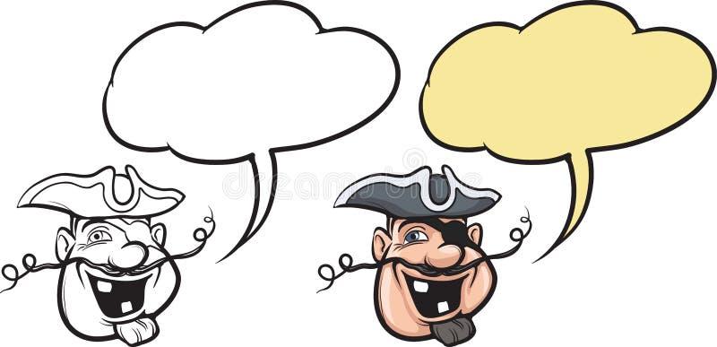 Fronte sorridente del pirata del fumetto illustrazione vettoriale