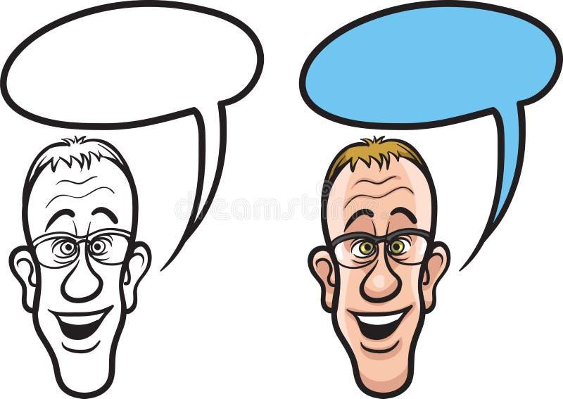Fronte sorridente del programmatore del fumetto illustrazione di stock