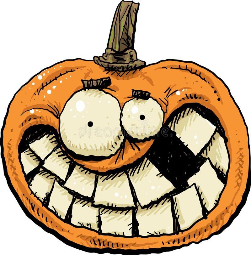 Fronte sorridente della zucca del fumetto illustrazione vettoriale