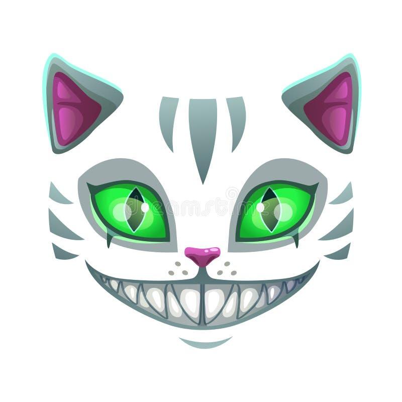Fronte sorridente spaventoso del gatto di fantasia illustrazione di stock