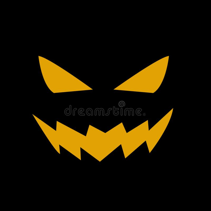 Fronte spaventoso della zucca di Halloween illustrazione di stock