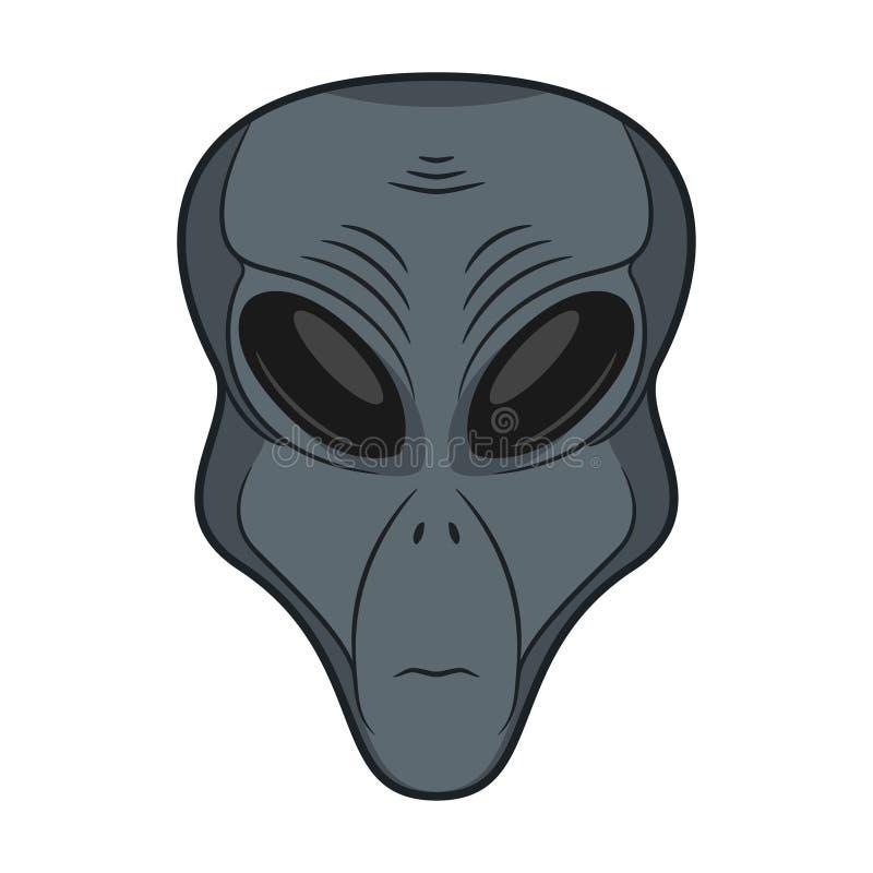 FRONTE STRANIERO Icona capa del Extraterrestrial Umanoide disegnato a mano Concetto dell'invasore marziano dello spazio Vettore royalty illustrazione gratis