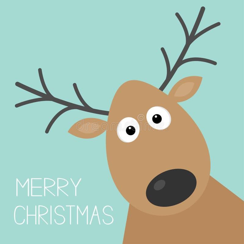 Fronte sveglio dei cervi del fumetto con progettazione piana della carta del fondo di Buon Natale del corno illustrazione di stock