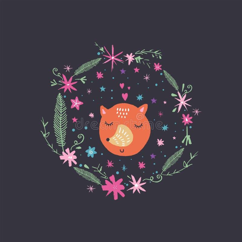 Fronte sveglio della volpe di vettore nella struttura e nelle stelle floreali Illustrazione della scuola materna royalty illustrazione gratis