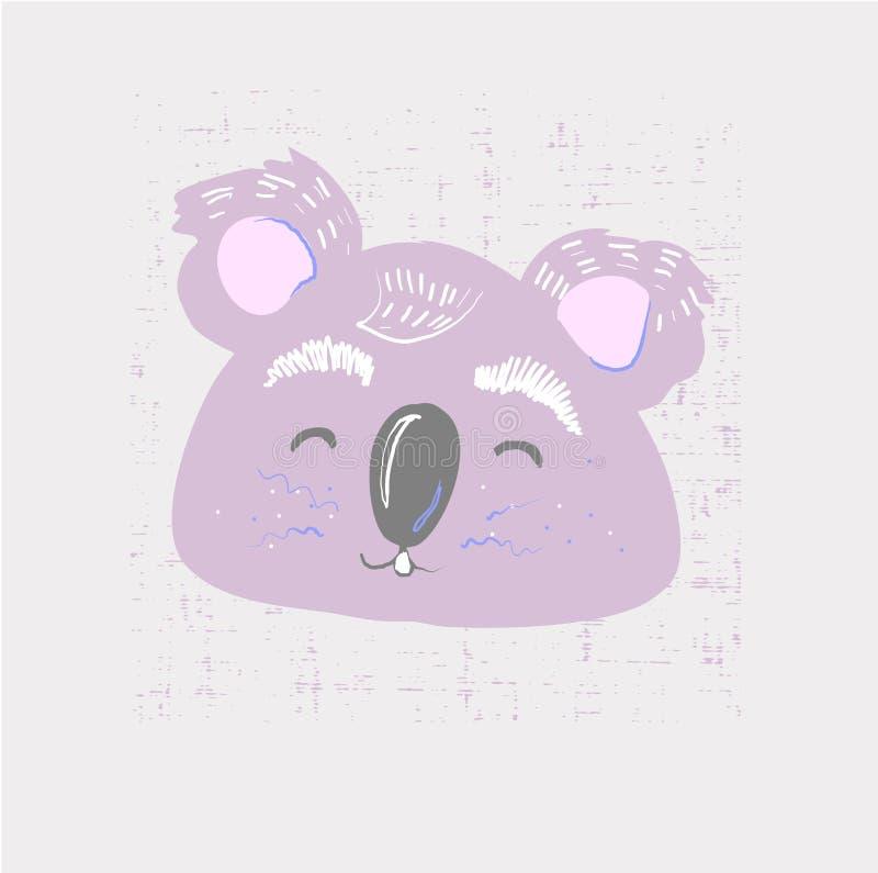 Fronte sveglio di coala Stampa puerile per la scuola materna, bambini abito, manifesto, cartolina Illustrazione di vettore royalty illustrazione gratis