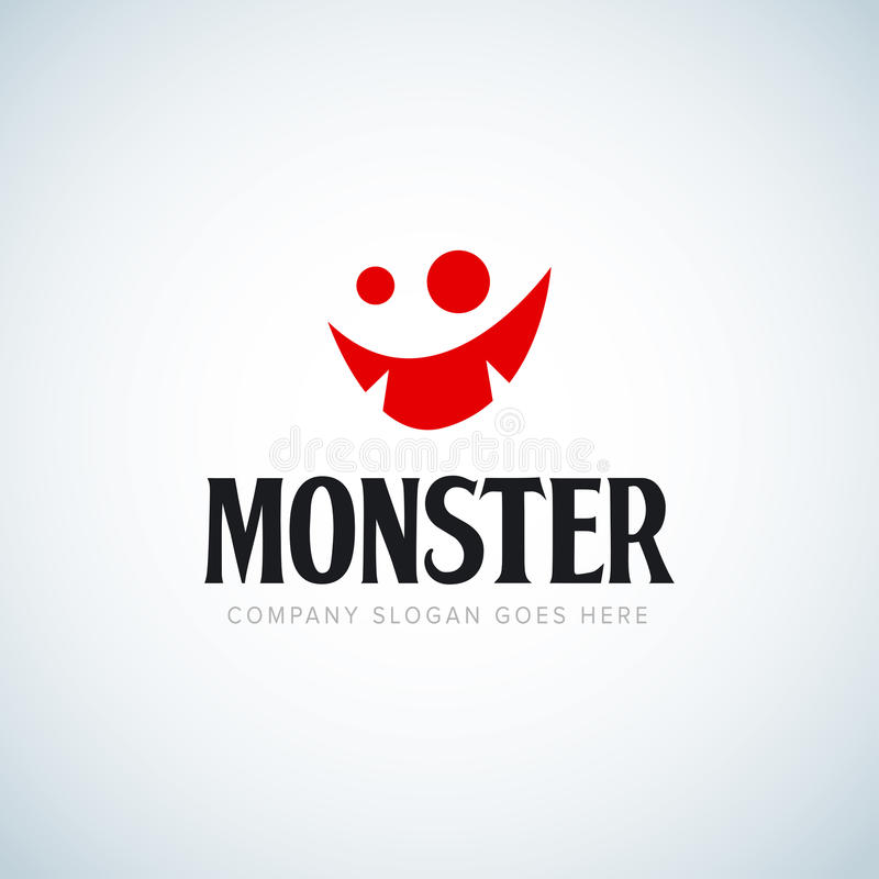 Fronte sveglio felice del mostro del fumetto Formato di vettore idea per un logo Progettazione della maglietta illustrazione di stock