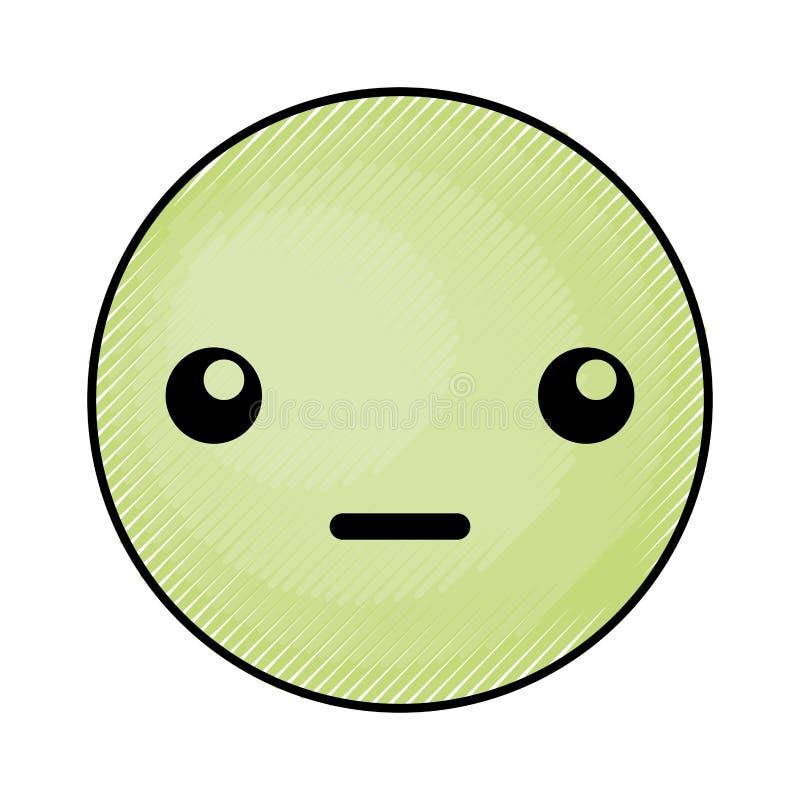 Fronte verde sveglio dell'emoticon di kawaii royalty illustrazione gratis