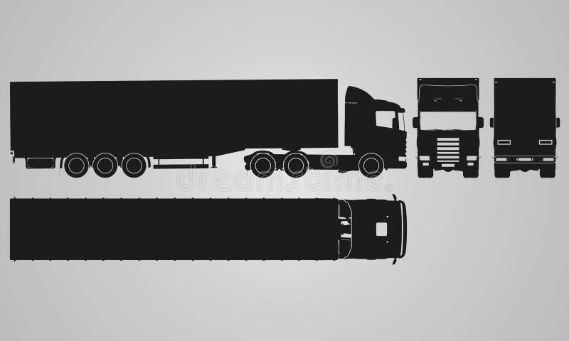 Fronteggi, camion posteriore, superiore e laterale con la proiezione del rimorchio del carico royalty illustrazione gratis