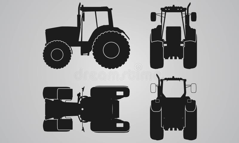 Fronteggi, proiezione posteriore, superiore e laterale del trattore illustrazione vettoriale