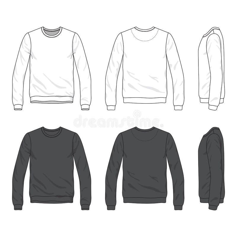 Fronteggi, viste laterali posteriori e della maglietta felpata in bianco royalty illustrazione gratis