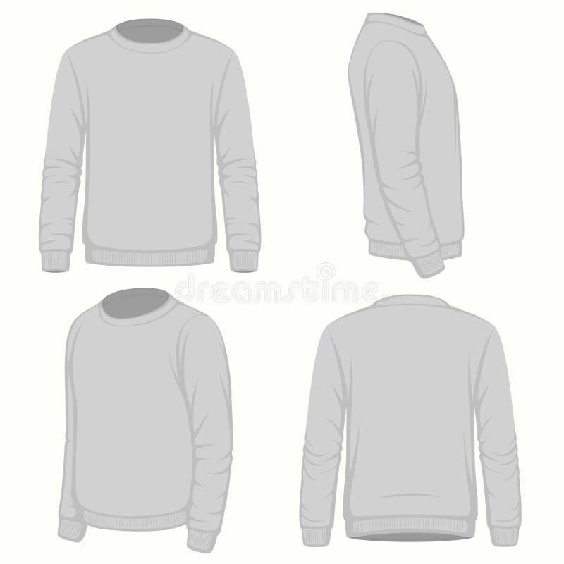 Fronteggi, viste laterali posteriori e della maglietta felpata di maglia con cappuccio royalty illustrazione gratis