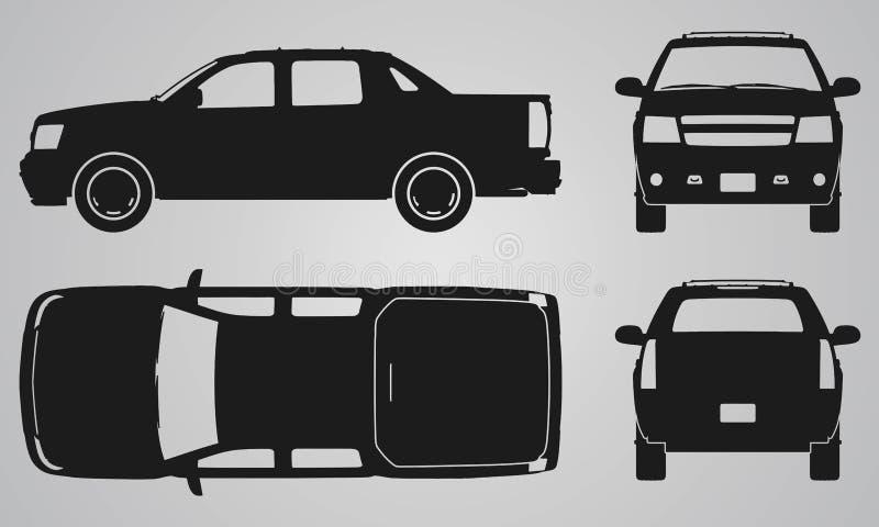 Fronteie, projeção traseiro, superior e lateral do camionete ilustração royalty free