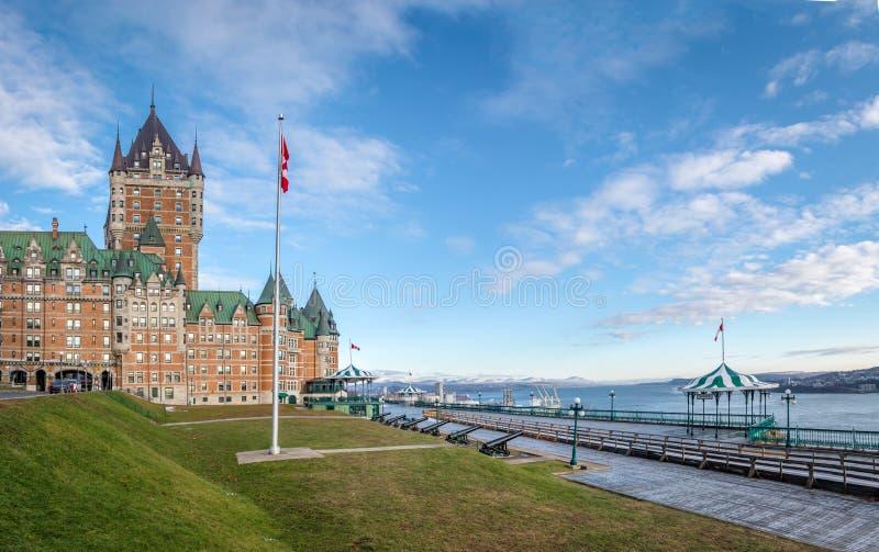Frontenac Castle και πεζούλι Dufferin - πόλη του Κεμπέκ, Κεμπέκ, Καναδάς στοκ εικόνες