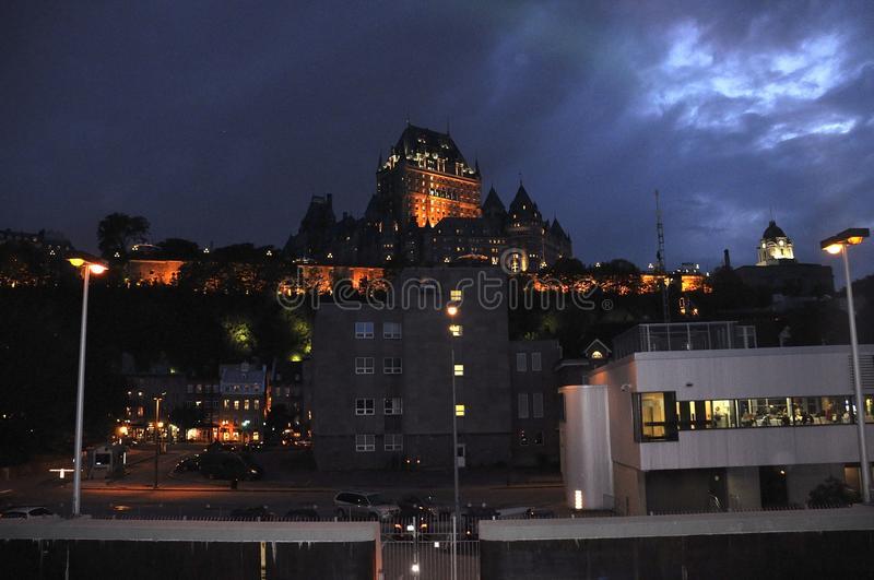 Frontenac Castle by night from Quebec City in Canada. On 29th June 2017 royalty free stock photo