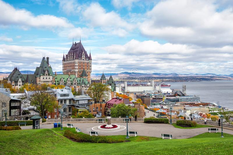 Frontenac Castle in Old Quebec City in Fall Season, Quebec, Canada stock photography