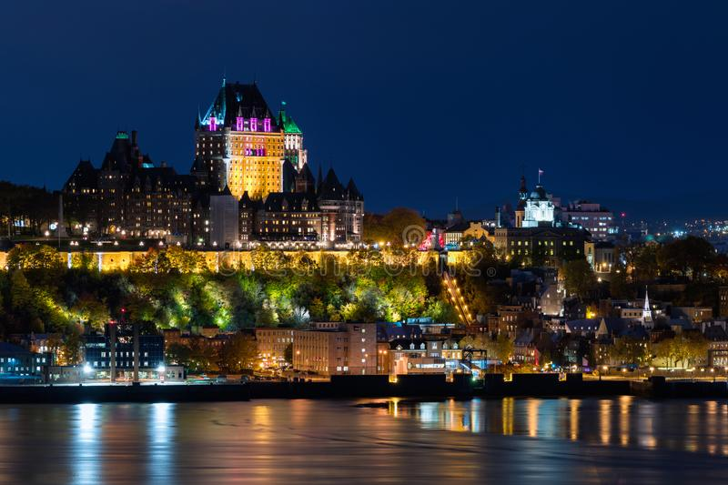 Frontenac Castle in Old Quebec City at Night, Quebec, Canada. Frontenac Castle in Old Quebec City at nighttime during autumn season in Quebec, Canada stock images