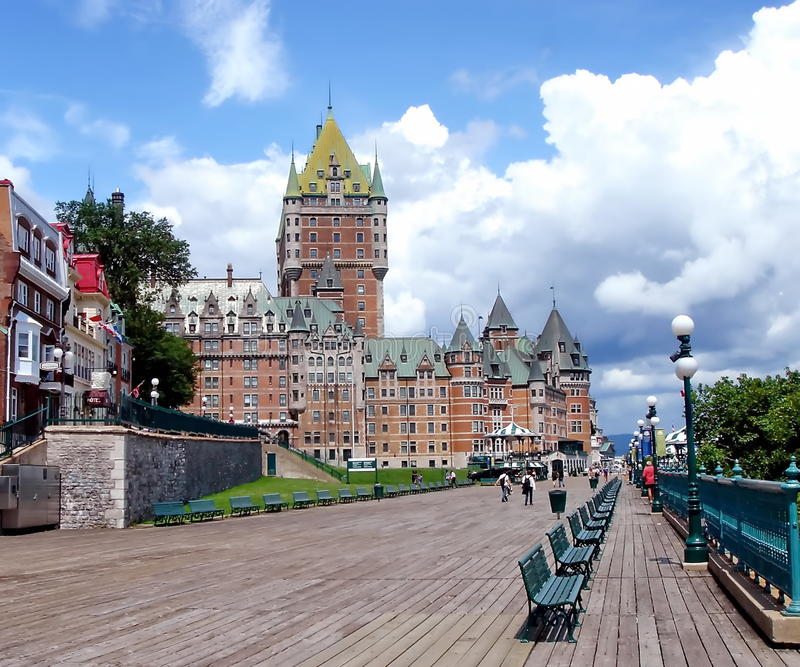 Frontenac Castle, Quebec, Canada. Frontenac castle and terrasse Dufferin in old city Quebec, Canada stock photo