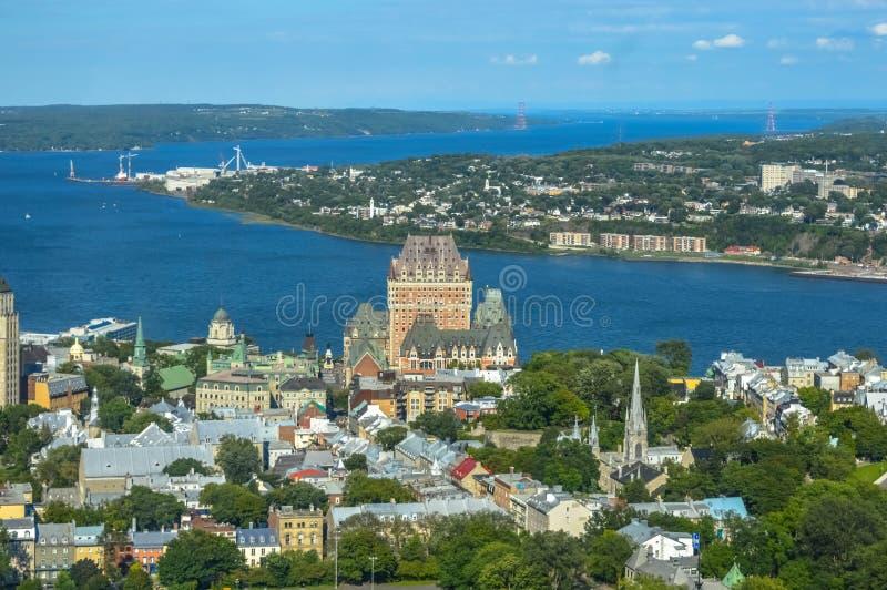 Frontenac castle in Quebec. City (Canada royalty free stock photos