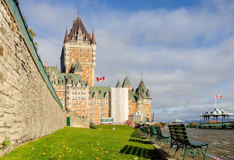 Frontenackasteel en Dufferin-terras in de Oude Stad van Quebec, Canada royalty-vrije stock afbeelding
