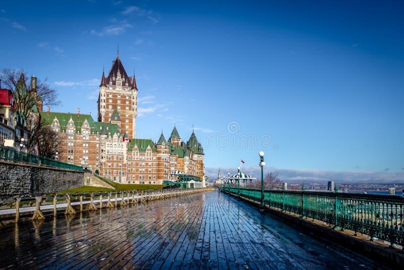 Frontenackasteel en Dufferin-Terras - de Stad van Quebec, Quebec, Canada royalty-vrije stock afbeelding