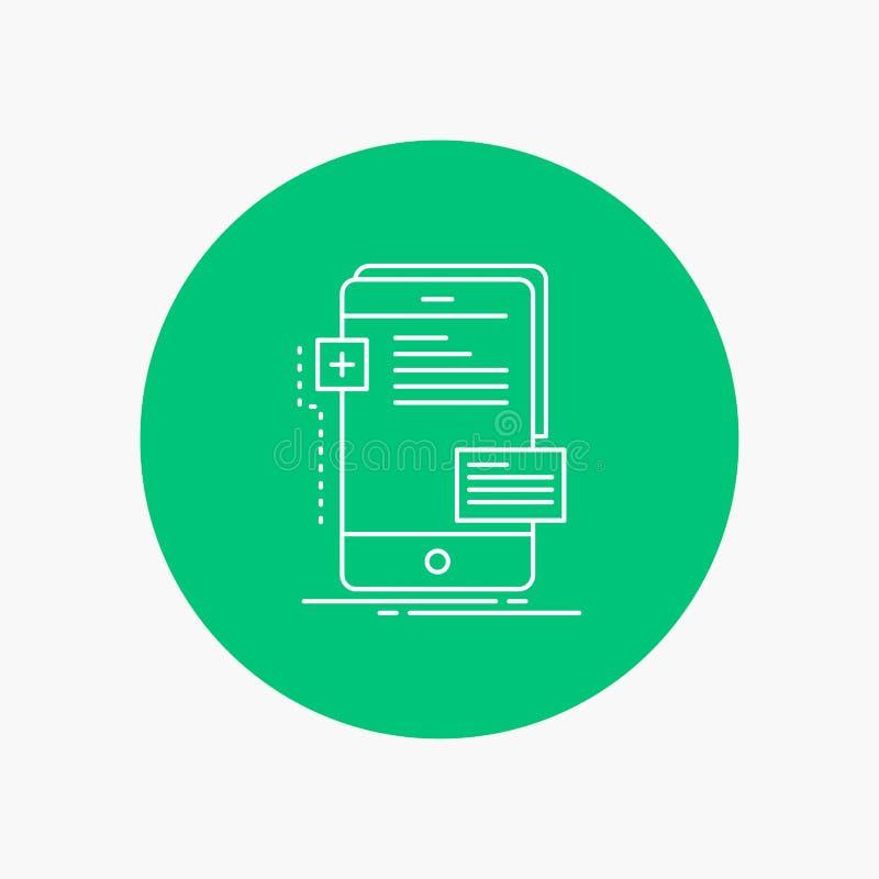 frontend, διεπαφή, κινητή, τηλέφωνο, άσπρο εικονίδιο γραμμών υπεύθυνων για την ανάπτυξη στο υπόβαθρο κύκλων διανυσματική απεικόνι απεικόνιση αποθεμάτων
