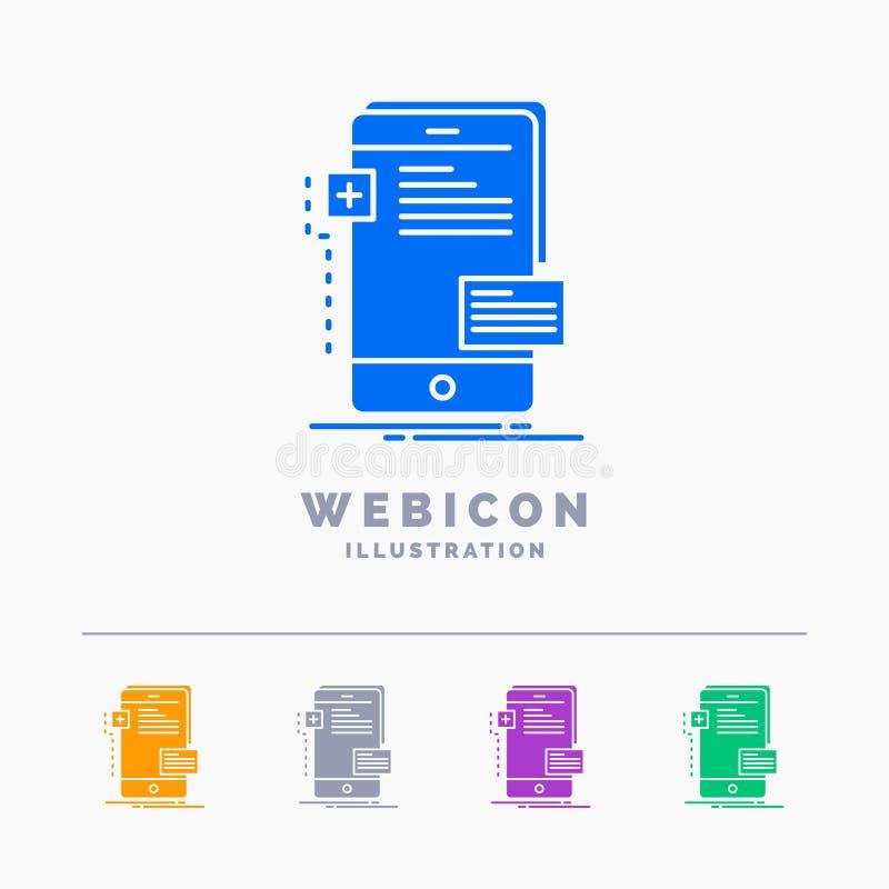 frontend, διεπαφή, κινητή, τηλέφωνο, υπεύθυνος για την ανάπτυξη 5 πρότυπο εικονιδίων Ιστού Glyph χρώματος που απομονώνεται στο λε διανυσματική απεικόνιση