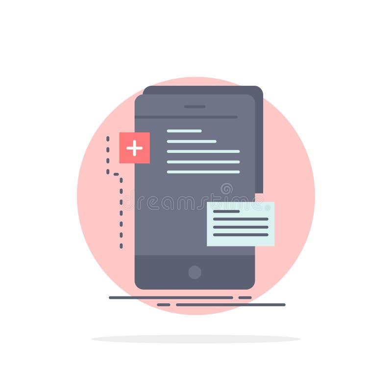 frontend, интерфейс, чернь, телефон, вектор значка цвета разработчика плоский иллюстрация штока