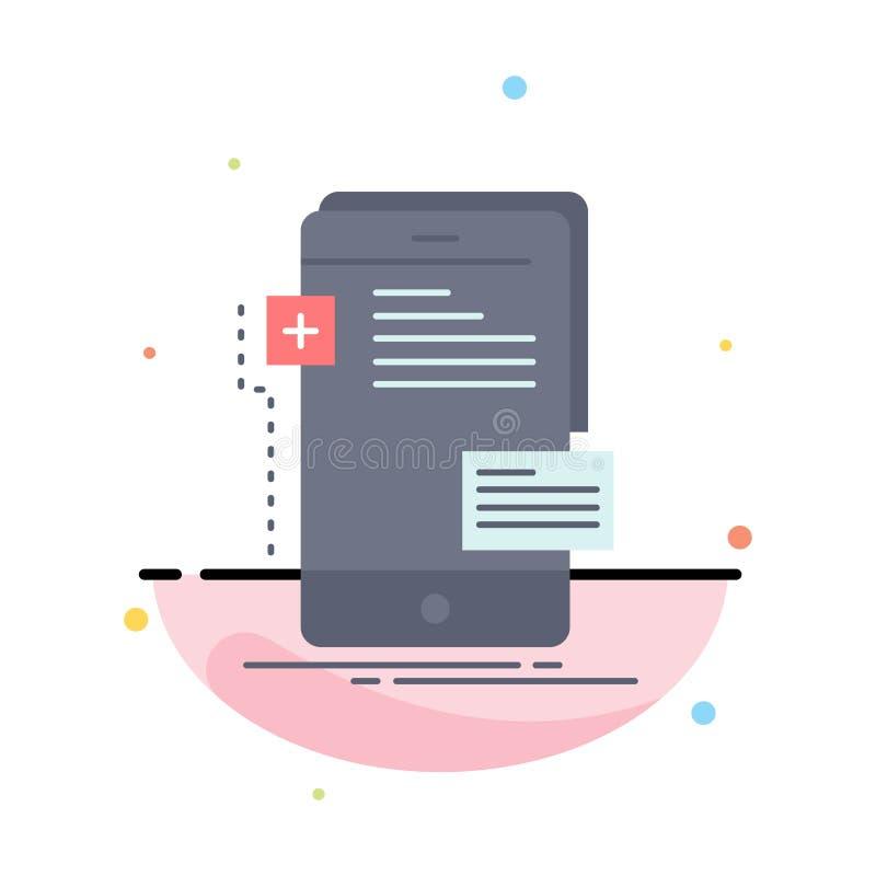 frontend, интерфейс, чернь, телефон, вектор значка цвета разработчика плоский иллюстрация вектора