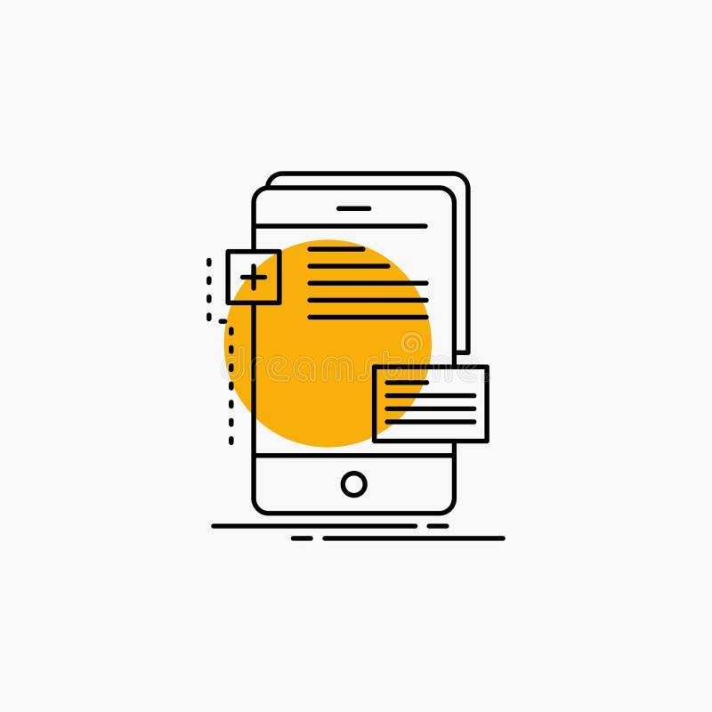 frontend, интерфейс, чернь, телефон, линия значок разработчика иллюстрация вектора