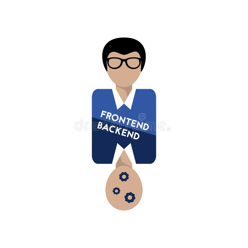 Frontend and backend project. Flat icon programmer. Vector illustration vector illustration